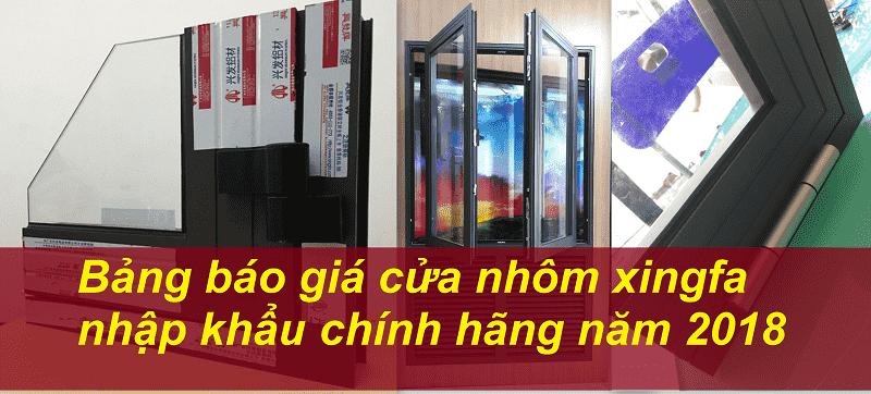 báo giá cửa nhôm xingfa nhập khẩu chính hãng