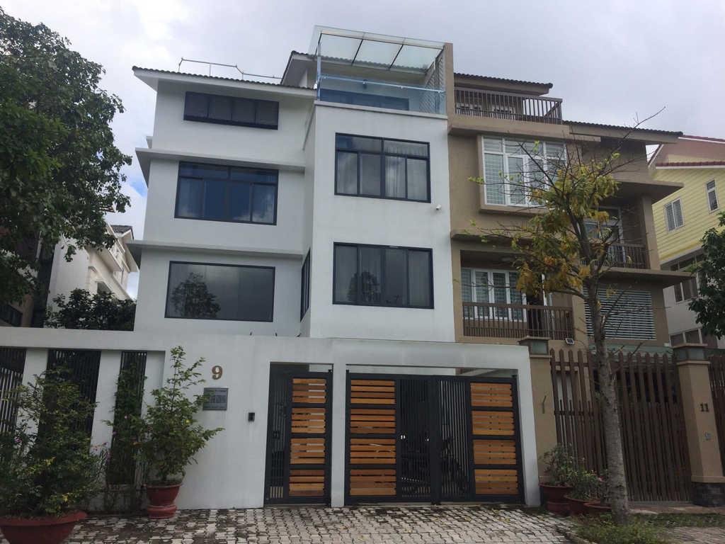 mặt nhà trước cửa nhôm kính xingfa cao cấp với giá rẻ