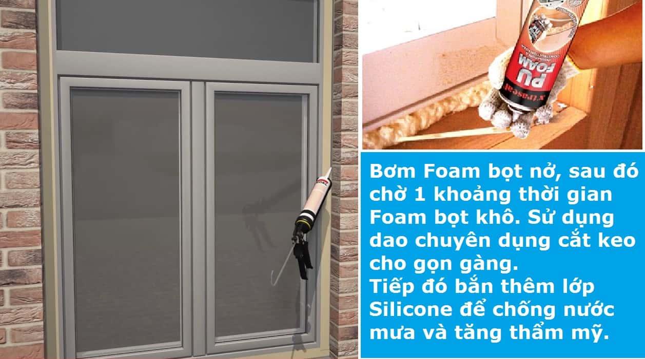 Bơm Foam bọt cho cửa kính văn phòng cách âm