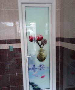 cửa nhôm 1 cánh tranh kính 3d